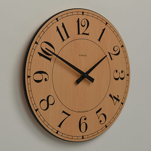 Inhouseclocks - classic handmade beech wood kitchen wall clock
