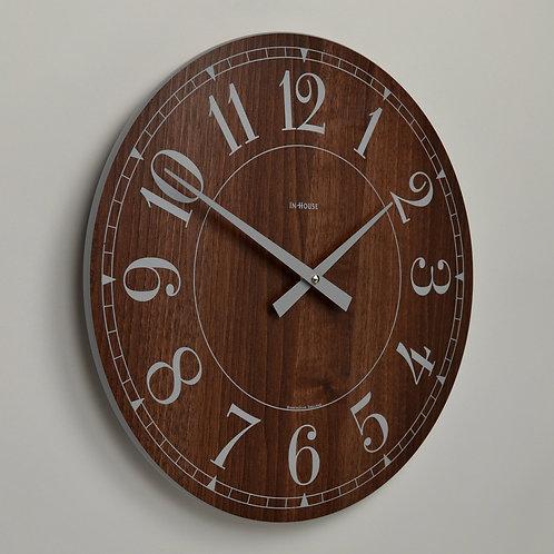Inhouse Clocks 'Station' wall clock Walnut 38cm Arabic dial