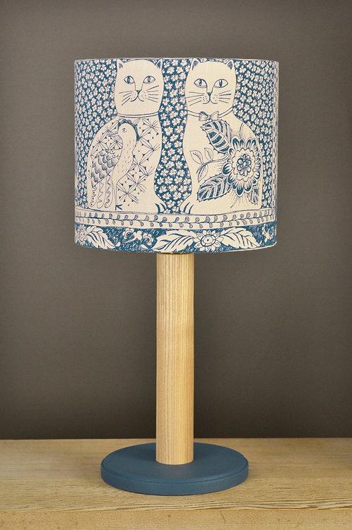 Table Lamp & Linen Shade - Cats & Dogs / Indigo