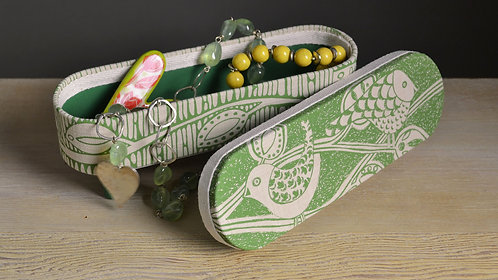 Small Linen Box - Birds / Green