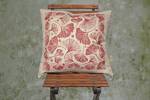 square linen cushion with Ginkgo design in red
