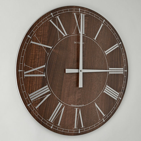 large walnut wall clock - roman dial - handmade in uk