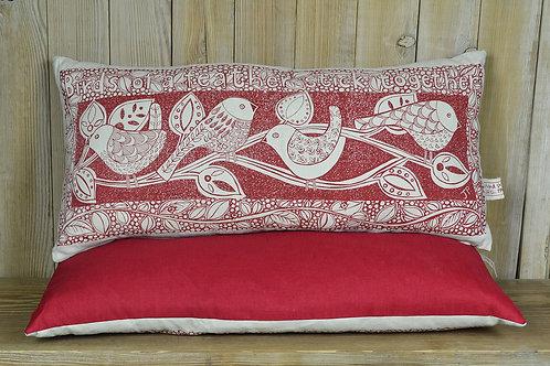 Jill Pargeter - 'Birds' hand printed linen cushion