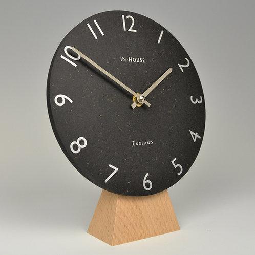Inhouseclocks - British handmade beech wood mantel clock with black dial