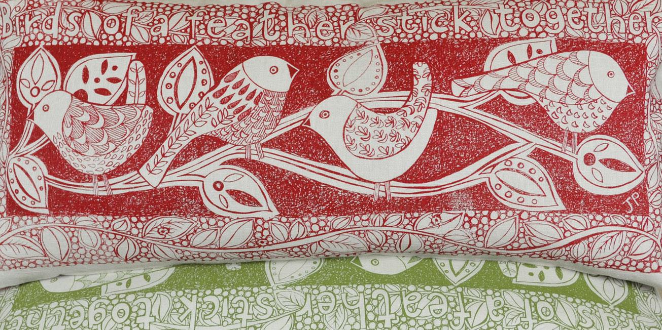 linen bird cushions
