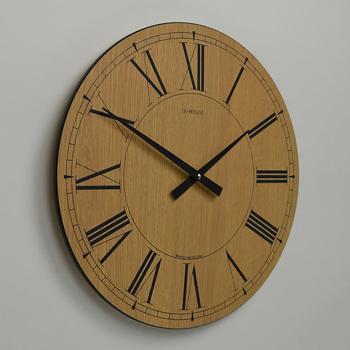 Inhouseclocks - simple oak wood kitchen wall clock
