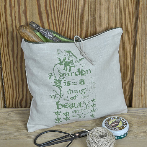 Linen Zip Bag - Garden