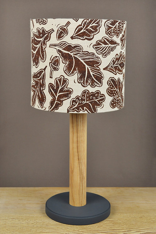 handmade table lamp with ash base and linen shade