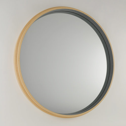 Inhouse - large modern round beech wood mirror