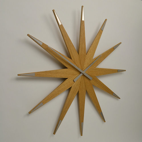 Inhouseclocks - large British handmade oak star wall clock