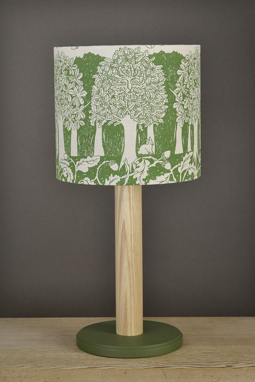 Table Lamp & Linen Shade - Oakwood - Green