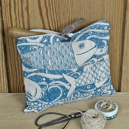 Linen Zip Bag - Fishes
