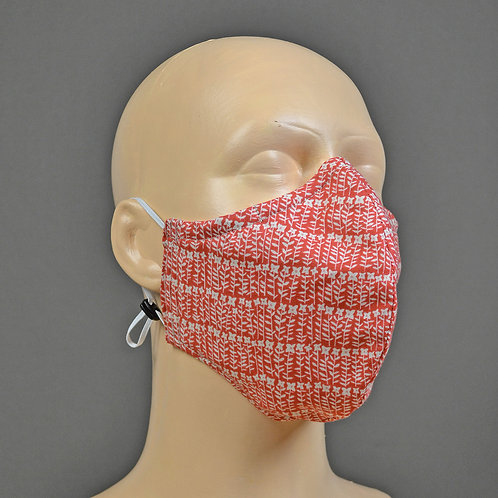 triple layer fabric face mask - red cotton floral