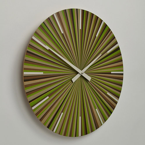 Inhouseclocks - green multistripe multicolour designer wall clock