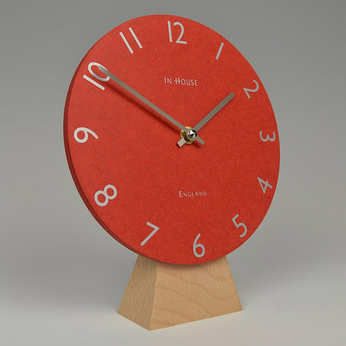 Inhouseclocks - contemporary beech wood mantel clock with red dial