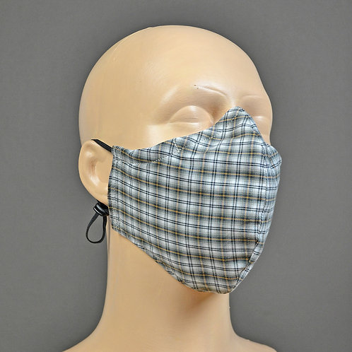 triple layer 100% cotton fabric face mask - grey check