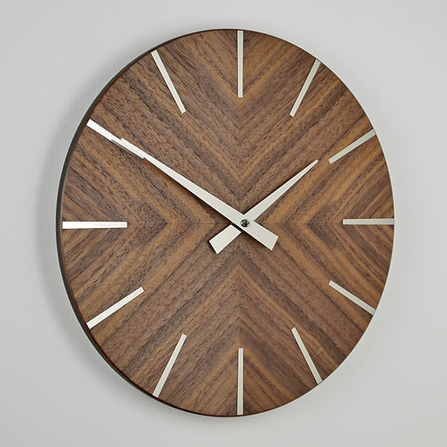 handmade walnut wall clock with stainless steel hands