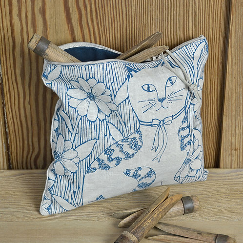 Linen Zip Bag - Cat