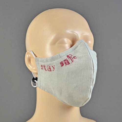Natural linen fabric face masks handmade in England