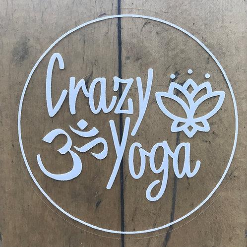 White Crazy Yoga Sticker