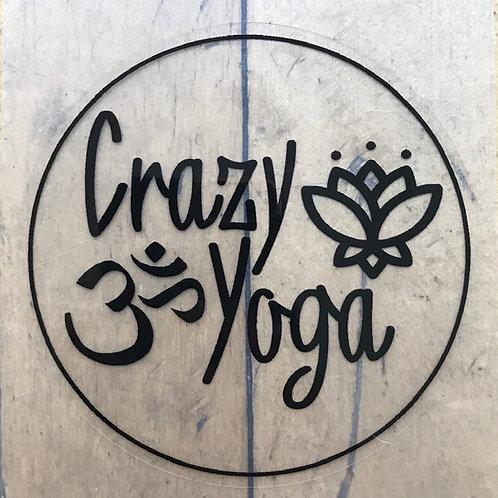 Black Crazy Yoga Sticker