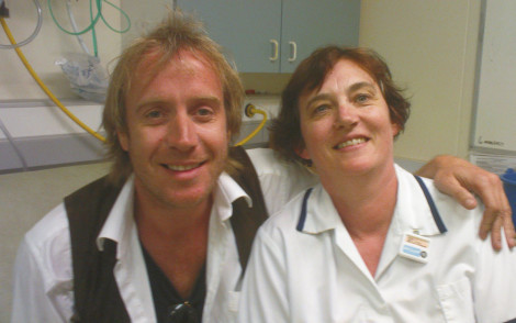 Me looking slightly shell shocked with Rhys Ifans, some years ago