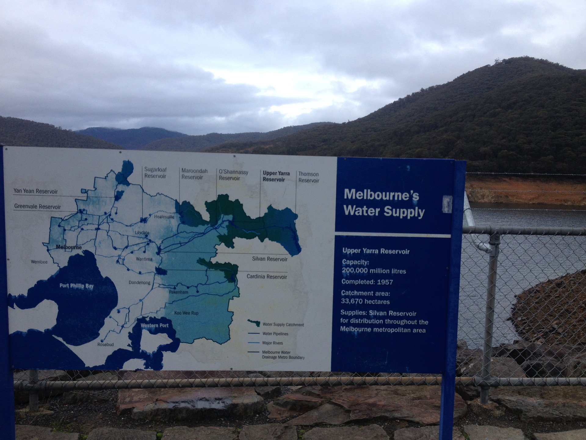 Visit to a reservoir providing drinking water for the city of Melbourne in Victoria.
