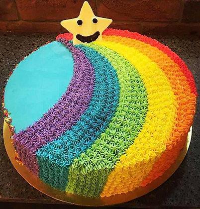 "2D Cream Cake - Rainbow 9"""