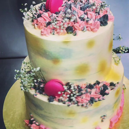 3D Cream Cake - Flowers (min 2 weeks advance order) (2 Tiers - Tall)