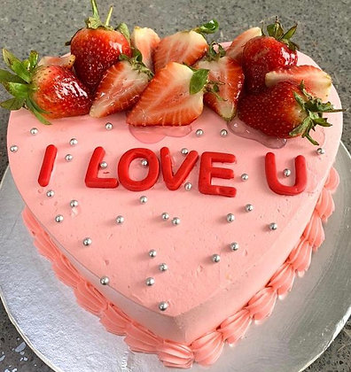 2D Cream Cake - Pink I Love U (Strawberry)