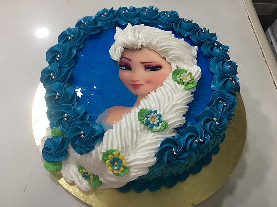 """2D Image+3D artisan piping Princess Cake (11"""",2-2.5kg)  (photo given by Client)"""