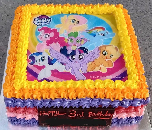 2D Image Printed Cake -Little Ponies (photo given by Client)