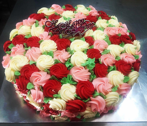 2D Cream Cake - Roses (Red, Pink, White)