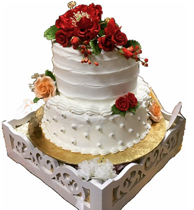 3D Cream Cake - Red Flowers (min 2 weeks advance notice)(2 Tiers - Tall)
