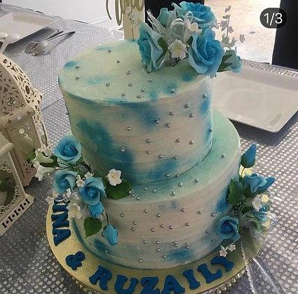 Blue flora ( 2 tier, min 2 weeks advance order.)
