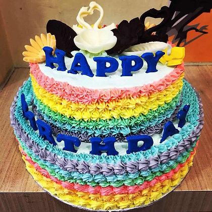 3D Cream Cake - Swan min 2 weeks advance order (2 Tiers)