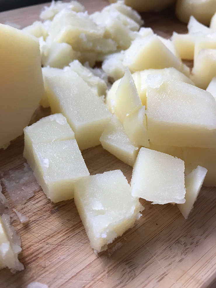 White potatoes cubed for the creamy potato salad