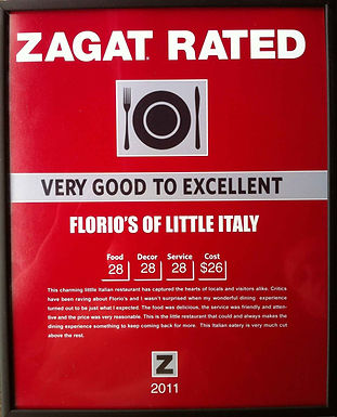 Florio's Zagat Rated Excellent