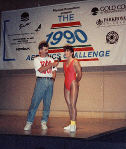 Louise being interviewed and was just announced the winner during the 1990 Aerobics Challenge.