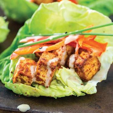 Chile-Roasted Tofu Lettuce Cups