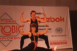 Louise competing in the partners division in 1989 during the National Aerobics Championship sponsore