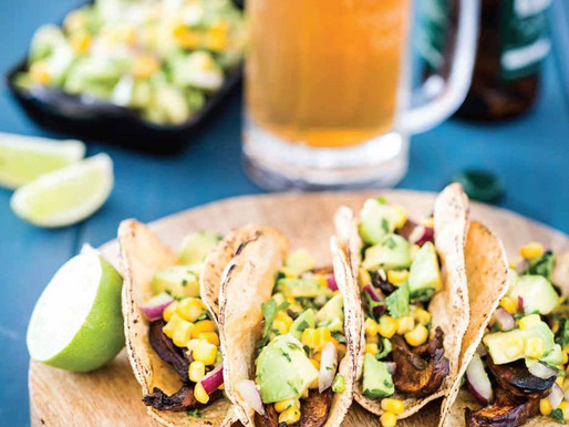 Beer-Marinated Portobello Tacos with Avocado-Corn Salsa