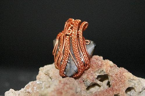 Copper Woven Black Triangle Stone