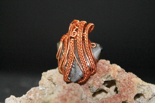 Copper Woven Black Triangle Stone   Wire Wrapped Pendant   Website ...