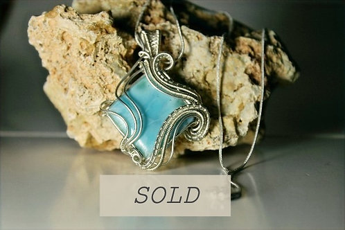 Larimar Wire Woven In Sterling Silver Pendant