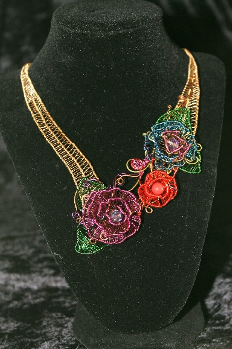 Handmade Wire Woven Flower Copper Necklace