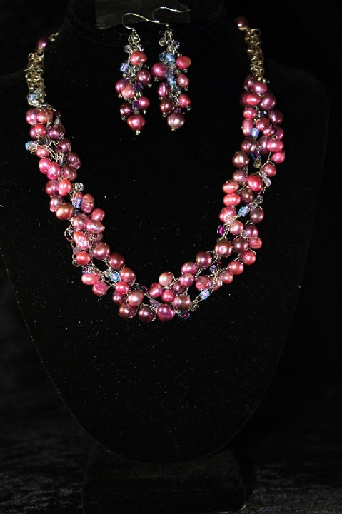 Crochet Black Cherry Fresh Water Pearl Necklace