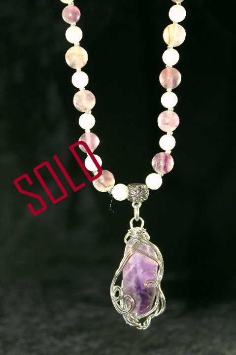 Wire Wrapped Amethyst Nugget Necklace