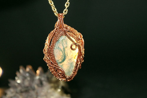 Green Moss Agate Copper Pendant