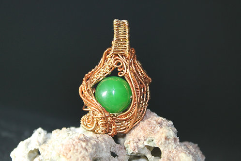 Copper Wire Wrapped Pendant with Green Glass Delight